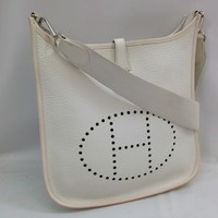 Auth HERMES H logos Leather Shoulder Bag White 8C150470#