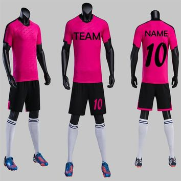 Nice Beautiful Rose Carmin New 2018 Men's Soccer Jerseys Futbol Team Can Customized Uniforms Soccer Kit Match Sets Free Shipping