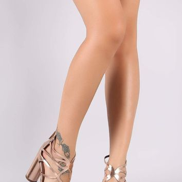 Breckelle Metallic Caged Open Toe Cylindrical-Heel