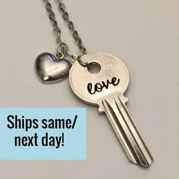 Love Key Necklace, Engraved Key Necklace, Long Distance Friendship, Long Distance Relationship, Engraved Key, Christmas Gift, Gifts Under 20