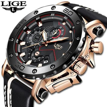 2019 New Fashion Mens Watches Top Brand Luxury Big Dial Military Quartz Watch Leather Waterproof Sport Chronograph Watch Men