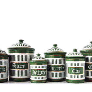 Beautiful and rare French vintage enamel kitchen canister set in forest green and white stripes. French country. Farmhouse. Cottage chic.