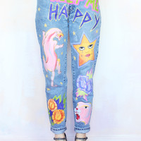 Keep Me Happy Hand Painted Mom Jeans