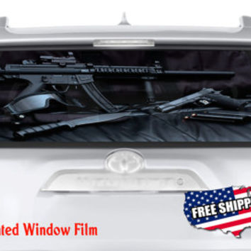 Weapons Soldier Gun Knife Set Full Color Print Perforated Film Truck SUV Back Window Sticker Perf014