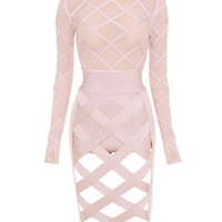 Mikaela Lattice Sheer Long Sleeve Two Piece Bandage Dress