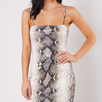 Pit Viper Snake Print Animal Pattern Sleeveless Spaghetti Strap Square Neck Bodycon Mini Dress - 2 Colors Available