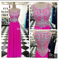 Hot Pink chiffon Prom Dress with Shiny Crystals and Beaded Formal prom gowns Plus Size Women formal sparkly prom dress 2016
