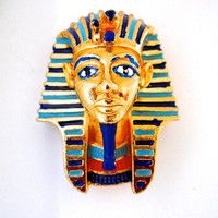 Egyptian Revival King Tut Brooch Pin, SPHINX Tutankhamun, Blue Red Enamel Gold Plating, Signed Vintage