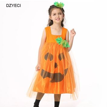 DZYECI Pumpkin Lace Dress For Baby Girl Costume Halloween Up Kid Vest Party Frock Child Disguise Tunic Robe Princesse Dance 6 8T