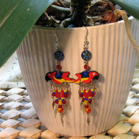 Colorful Parrot Earrings Handmade in Limited Edition