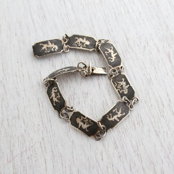 Vintage Sterling Silver Siam Bracelet - Signed Thai Panel Black Enamel Siamese Goddess of LightningJewelry / Double Linked