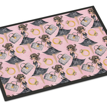 Watercolor Fashion Diva on Pink Indoor or Outdoor Mat 18x27 BB7500MAT
