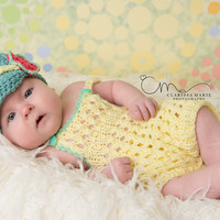 Baby Girl Knit Romper, Bodysuit with Crochet Newsboy Flower Hat