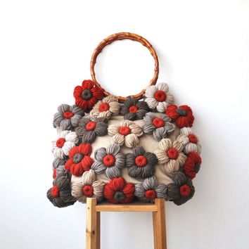 Bag With Colorful Flowers by Afra Red - Brown - Ecru - Beige