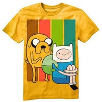 Adventure Time Unsuspecting Finn Short Sleeve Boys Shirt (Large, Gold)