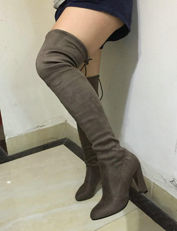 403527bfa49e Stretch Faux Suede Slim Thigh High Boots from AWASHDRESS