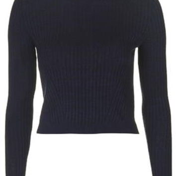 TALL Travelling Rib Jumper - Navy Blue