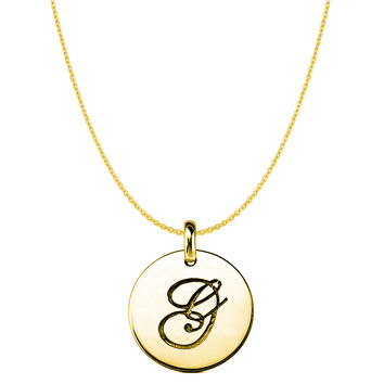 """""""G"""" 14K Yellow Gold Script Engraved Initial Disk Pendant"""