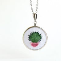 Embroidered jewelry with little cactus 40 by skrynka on Etsy