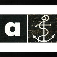 Mid Century Alphabet Block Art A is for Anchor