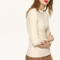 Knit Women Long Sleeve Round Necked _ 10135