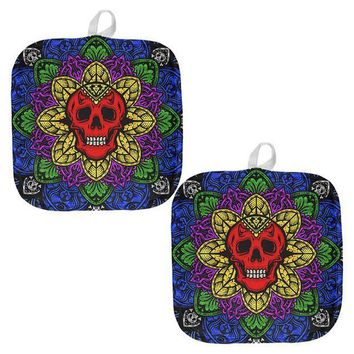 ESBGQ9 Halloween Demon Skull Mandala All Over Pot Holder (Set of 2)