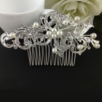 Silver Color Rhinestone Floral Hair Combs Pearl Crystal Vintage Wedding Comb Women Hairpins Bridal Hair Jewelry Accessories