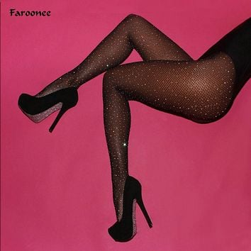 Faroonee Sexy Women Fishnet Tights Stockings Women Shiny Crystal Rhinestone Pantyhose Hollow Out Mesh Thigh Party Hosier 2C0101
