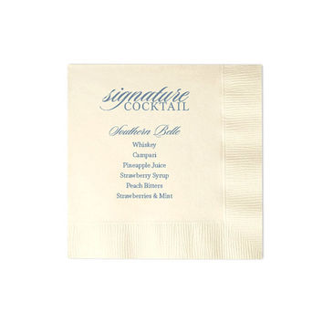 Signature Drink Napkins - Beverage Cocktail Napkin Custom Wedding Favor Foil Stamped Personalized Bridal Shower Rehearsal