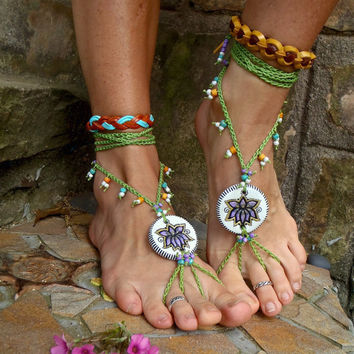 TRIBAL LOTUS BAREFOOT sandals beach wedding purple green by GPyoga