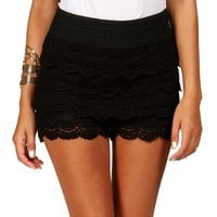 Black Crochet Scalloped Shorts