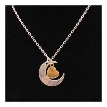 X329 love Valentine's Day love couple of European and American moon necklace ebay jewelry supply   AUNT SILVER