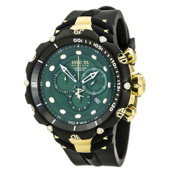 Invicta 80482 Men's Venom Chronograph Green Dial Rubber Strap Dive Watch