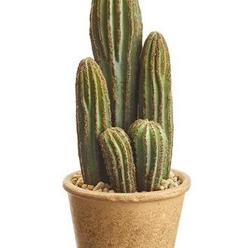 "Fake House Plants Column Cactus in Pot - 9.5"" Tall"