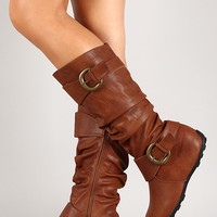 Leatherette Buckle Slouchy Round Toe Knee High Hidden Wedge Boot