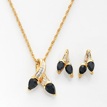 Genuine Black Onyx and Diamond-Accent Earrings and Pendant 2pc Set