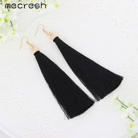 Mecresh 5 Colors Fiber Tassel Long Drop Earrings for Bridal Women Gold Plated Brush Bohemia Fashion Wedding Party Jewelry EH422