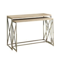 Natural Reclaimed-Look / Chrome Metal 2Pcs Console Tables