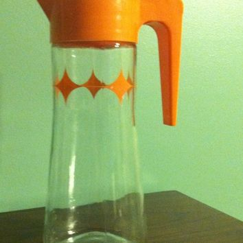 Vintage Orange Juice Pitcher w/Starburst Pattern