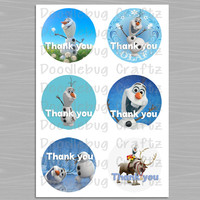 """Disney Frozen - Printable Olaf and Sven Thank You Favor Tags Images - 2.5"""" Circle Tag - 6 Images with Each Set - INSTANT Download"""