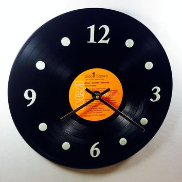 "Vinyl Record Clock, Wall Clock, Elvis Record, Recycled Music Record, 12"" Record, Battery & Wall Hanger included, Item #16"