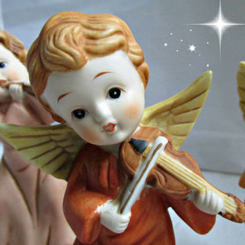 Three Christmas Homco Bisque Musical Angels Instruments Vintage