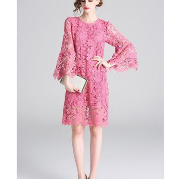New Arrival 2019 Women Water-soluble Flower Solid Lace Dress Casual Sweet Flare Long Sleeve Straight O Neck Hollow Out Lolita Summer Dress