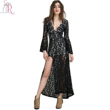 2 Colors Black White Bodycon Lace Long  Maxi Dress Flare Sleeve Floral Eyelash Thigh Split Deep V Neck Sexy Backless2016 Women
