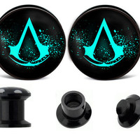 Assassins creed ear plugs ,custom ear gauges,acrylic ear plugs,wedding plugs,plugs jewelry