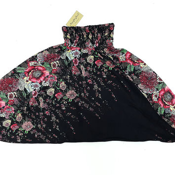 KIDS SIZE 7-8yrs Unisex Kids Pants Yoga Black, Flower Pants Aladdin Pants Boho Pants Gypsy Rayon Flower Black (HP74)