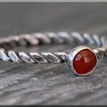 Sacral Chakras Stacking Ring, Sterling Silver Carnelian Gemstone Chakra Ring, Stackable Rings, Chakra Jewelry, Yoga Jewelry, Mind Body Soul