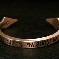 Coordinates Collection, Thin Dagger Bracelet, Location: Dallas (Antique Gold)