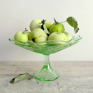 Green Glass Pedestal Bowl - Soviet vintage - footed fruit dish - Russian home decor - made in USSR