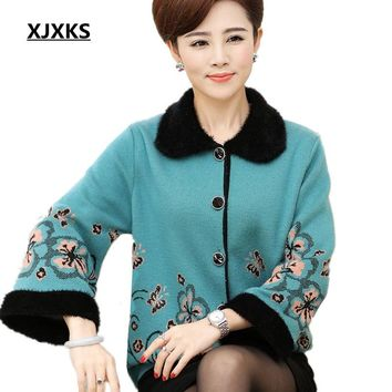 XJXKS women sweaters and cardigans 2017 winter warm thick cardigan button plus size Turn-down Collar middle-aged women sweater
